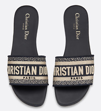 Christian Dior Dway Deep Blue White Embroidered Logo Slide Mule Flat Sandal 36