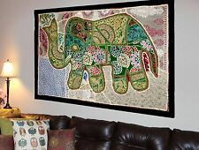 HANDMADE ELEPHANT BOHEMIAN PATCHWORK WALL HANGING EMBROIDERED TAPESTRY INDIA X28