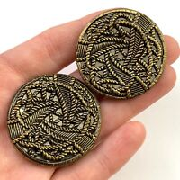 LARGE VINTAGE BUTTON PAIR LOT ORNATE METAL SEWING JEWELRY MAKING