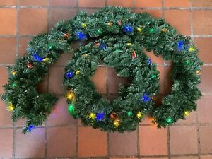 Bethlehem Lights Festive Multi Coloured Garland & Wreath Set With Timmer QVC NEW