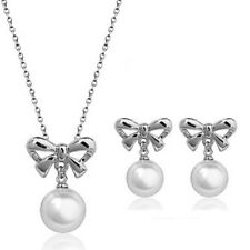 Rhodium Plated Round White Crystal Pearl-Pendant Necklace & CLIP ON Earring Set