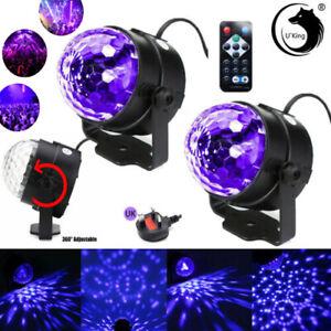 2X Sound Active LED UV Stage Light Crystal Disco Ball Xmas Club DJ Party &Remote