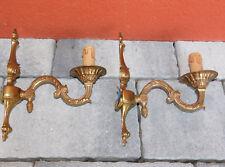 ancien LOT 2 LAMPE murale dorée APPLIQUE en laiton WALL lamp BRAS vintage BRONZE