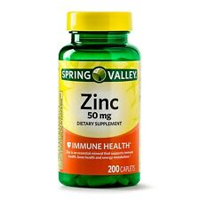 Spring Valley Zinc 50mg 200 Caplets Immune Health - SHIPS OUT FAST! - EXP 02/22