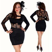 sexy mini robe noir taille 32 34 de soirée dentelle stretch manches longues