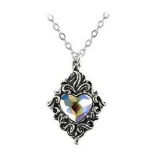 Alchemy Gothic Victorian Style AB Crystal Heart Pendant Necklace Pewter P711