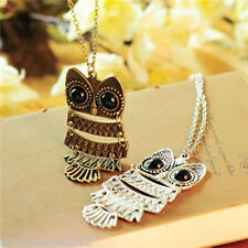 Trendy Lady Women Solid Silver Owl Pendant Necklace Gift For Christmas/Birthday
