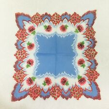 Vintage Hankie Pink Blue Scalloped Edge Clover Mum Floral 13 Inches