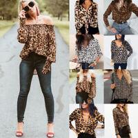 Fashion Boohoo Leopard Blouse Casual Loose Tops Ladies T-Shirt Slogan Stripe Tee