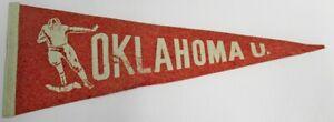 """Vintage 1940s Oklahoma Sooners Football Pennant 10x28"""" 74220"""