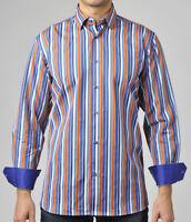 Luchiano Visconti Casual Shirt Mens XL Multi Color Stripe wContrast Cuff LS NWT
