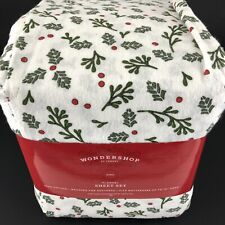 King Size Wondershop Holly Print Flannel Sheet Set 100% Cotton Christmas 4 Pc