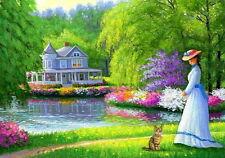 Victorian lady cat kitten house lake summer landscape OE aceo print art