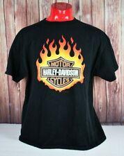 VTG HarleyDavidson Mens XL Flame Logo Tee Shirt Black Orange AUTHENTIC
