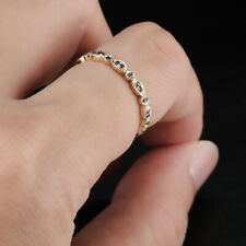 14K Yellow Gold Eternal Sapphires Band Unique Engagement Wedding Party Fine Ring