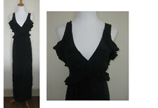 UNBRANDED BLACK SILK RUFFLE COCKTAIL MAXI DRESS GOWN XS S