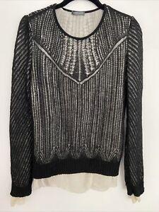 alexander mcqueen black ivory sweater wool silk crew neck size L
