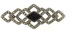 Vintage Deco Sterling-Silver Marcasite Black Onyx Large Brooch/Pin