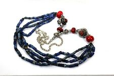 VINTAGE  Turquoise, Lapis Lazuli  & Silver Tibetan Necklace ETHNIC TRIBAL