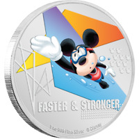 2020 Disney Mickey Mouse Faster & Stronger Swimming 1 oz Silver Coin - 2000 Made