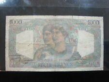 FRANCE 1000 FRANCS 1950 P130b FRENCH 46# BANK CURRENCY BANKNOTE PAPER MONEY