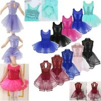 Girls Kids Ballet Skate Dance Dress Sequins Leotard Mesh Skirt Dancewear Costume