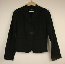 JANE NORMAN Size UK 10 Jet Black Designer Dress Jacket Coat Blazer Mac Trench