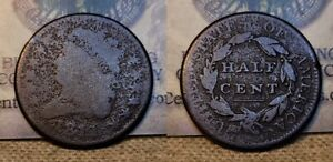 1811 Classic Head Half Cent 1c Environmental Damage Strong Date