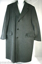 100% Wool Men's Trench Coat Size 42 Regular with Inside Pockets Polyester Liner