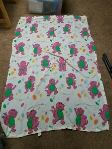 Vintage Barney the Purple Dinosaur Flat Bed Sheet TWIN I love You You Love Me