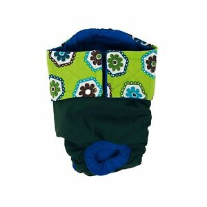 Dog Diapers - Made in USA - Green Daisy on Green Waterproof Premium Dog Diape...
