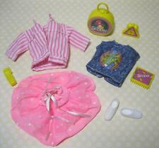 1988 Barbie SKIPPER DOLL TEEN TIME CLOTHES Shoes Outfit-PINK JACKET SUITCASE LOT