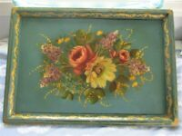 Teal Wood Antique Hand Painted Floral Buffet Serving Fireplace Mantle Tole Tray