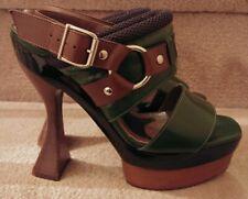 Marni Black, Green, Brown Wooden Heel/ Platform Open Toe High Heels Size 36