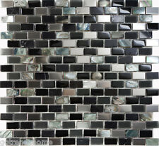 1SF Back Glass Mother Of Pearl Stainless Steel Mosaic Tile Kitchen Backsplash
