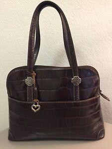 BRIGHTON Brown Structured Croc Embossed Leather Satchel Bag (VGC)