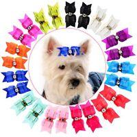 HOLLIHI 24 pcs12 Pairs Adorable Grosgrain Ribbon Pet Dog Hair Bows with Elastic