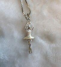 Estate Sale Sterling Silver 925 BALLERINA Ballet Dancer  Pendant Necklace