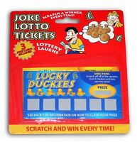 4 Joke Lotto Tickets Winning Scratch Card Fake Lottery Party Toy Fun Prank Trick
