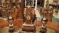 BRONZE & WHITE MARBLE FRANZ HERMLE VICTORIAN MANTEL CLOCK WITH 2LG. CANDELABRAS