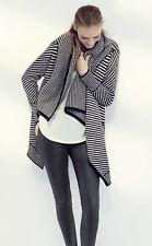 Joie Mathisa Black White Leather Drape Front Wool & Cashmere Cardigan Size S