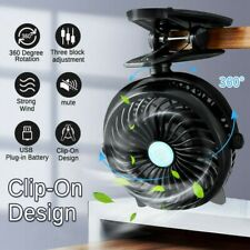 Portable Small 360° Clip Fan USB Charging Desktop Fan Mini Outdoor Fan 3 Speed