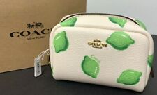 Coach Small Boxy Cosmetic Case With Lime Print Chalk Green 2345