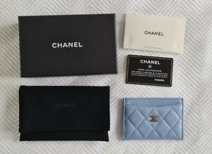 Chanel 21C Classic Card Holder Sky Blue Lambskin Leather Champagne Gold HW Used