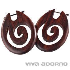Große Holz Ohrringe Spirale Sono Holz Creolen Naturschmuck Stecker Tribal W17