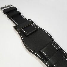 MILITARY 3 PIECE BLACK LEATHER WATCH STRAP sizes 18 20 22 24mm New FREE P&P