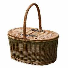 More details for 2 tone wicker picnic hamper shopping basket storage lidded green brown willow
