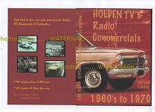 HOLDEN TV & RADIO ADDS on DVD 1960's TO 1980's NASCO FC FB EK EH HR HK HQ TORANA