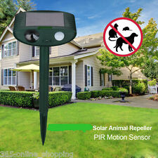Solar Power Ultrasonic PIR Garden Pest Repeller Cat Dog Fox Animal Deterrent