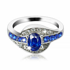 Women  Size 8 Blue Sapphire Gemstone White Gold plated Engagement party Ring